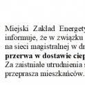 13.10.2017 Usuwanie awarii na sieci magistralnej w dniu 16 października 2017.